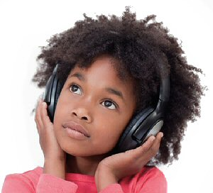 photo of girl wearing headphones, image 1